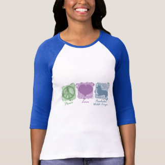Pastel Peace, Love, and Pembroke Welsh Corgis T-Shirt