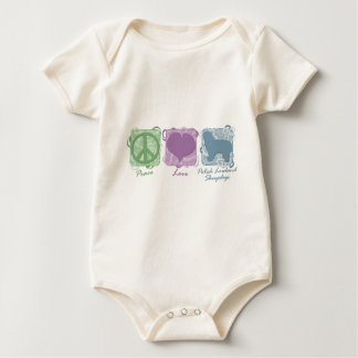 Pastel Peace, Love, and Polish Lowland Sheepdogs Baby Bodysuit