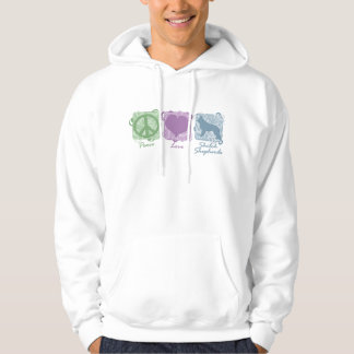 Pastel Peace, Love, and Shiloh Shepherds Hoodie