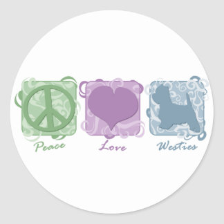 Pastel Peace, Love, and Westies Round Sticker