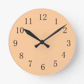 Pastel Peach Orange Earth Tone Kitchen Wall Clock