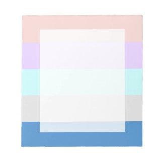 pastel peach purple mint grey blue color block notepad