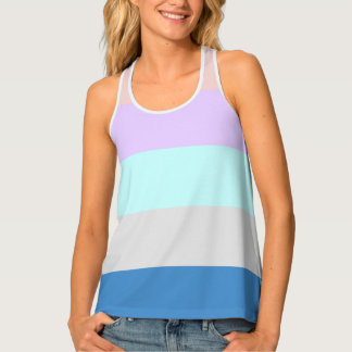 pastel peach purple mint grey blue color block tank top