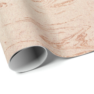 Pastel Peach Rose Gold Brush Powder Shiny Glam Wrapping Paper