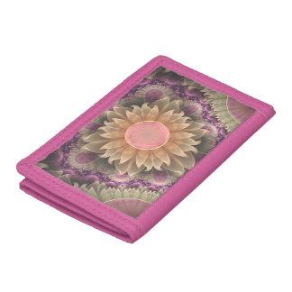 Pastel Pearl Lotus Garden of Fractal DahliaFlowers Tri-fold Wallet