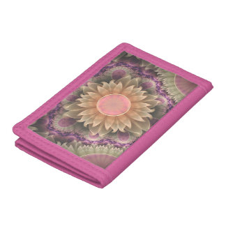 Pastel Pearl Lotus Garden of Fractal DahliaFlowers Trifold Wallets