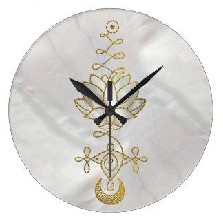 Pastel Pearl Unalome Lotus Symbol Large Clock