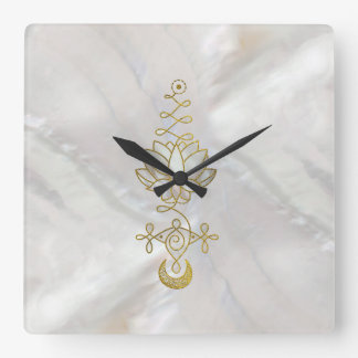 Pastel Pearl Unalome Lotus Symbol Square Wall Clock