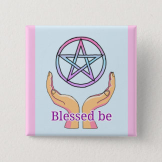 """Pastel Pentacle """"Blessed be"""" Pentagram 2 Inch Square Button"""