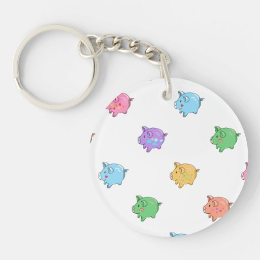 Pastel Pig Pattern Acrylic Keychain