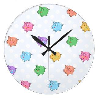 Pastel Pig Pattern Wall Clocks