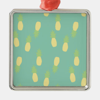 Pastel Pineapple Pattern Silver-Colored Square Ornament
