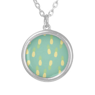 Pastel Pineapple Pattern Silver Plated Necklace