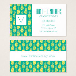 Pastel Pineapples | Monogram Business Card
