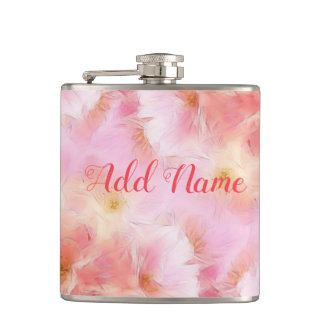 Pastel pink abstract flowers hip flask