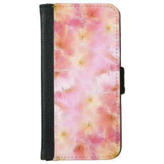 Pastel pink abstract flowers iPhone 6 wallet case