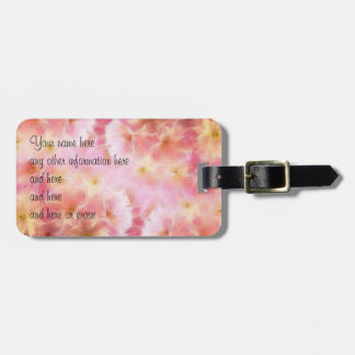 Pastel pink abstract flowers luggage tag