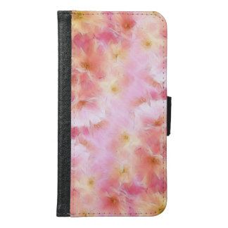 Pastel pink abstract flowers samsung galaxy s6 wallet case