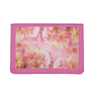 Pastel pink abstract flowers trifold wallets