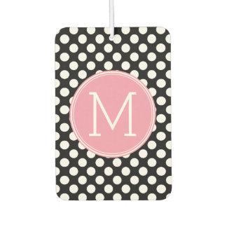 Pastel Pink and Black Polka Dots Custom Monogram Car Air Freshener