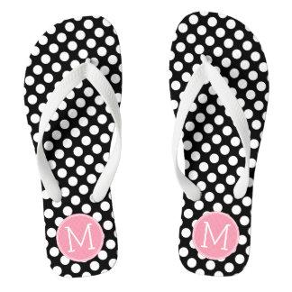 Pastel Pink and Black Polka Dots Custom Monogram Flip Flops