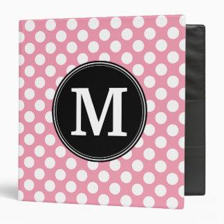 Pastel Pink and Black Polka Dots Custom Monogram Vinyl Binders