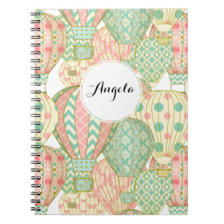 Pastel Pink and Blue Hot Air Balloons Note Book