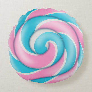 Pastel Pink and Blue Striped Lollipop Round Pillow