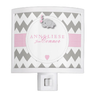 Pastel Pink and Gray Elephant Design Night Light