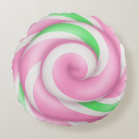Pastel Pink and Green Spiral Lollipop Round Pillow