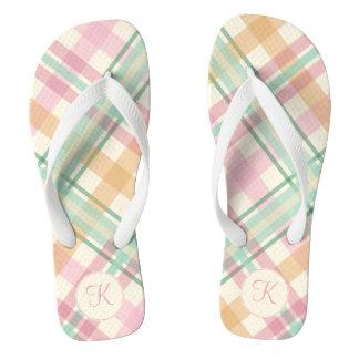 Pastel pink and mint plaid monogram flip flops