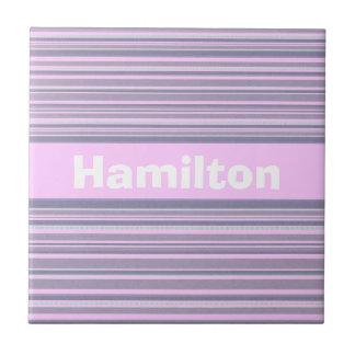 Pastel Pink and Purple Stripe Custom Name Tiles