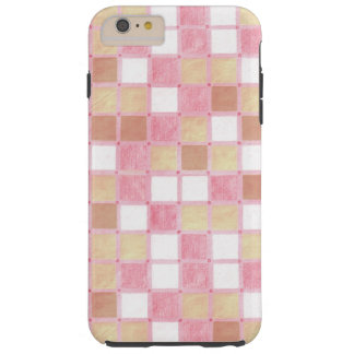 Pastel Pink and Tan Tiled Pattern Tough iPhone 6 Plus Case