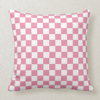 Pastel Pink And White Checkered Pattern Throw Pillow