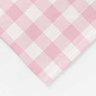 Pastel Pink and White Gingham Checked Pattern Fleece Blanket