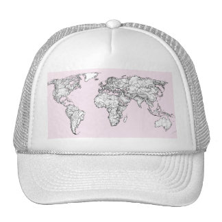 Pastel pink atlas trucker hat