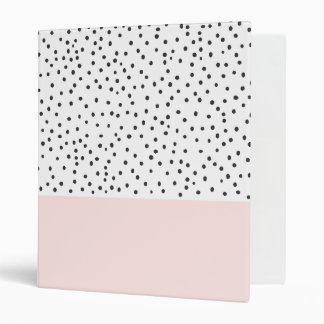 Pastel pink black watercolor polka dots pattern 3 ring binder