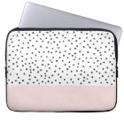 Pastel pink black watercolor polka dots pattern laptop sleeve