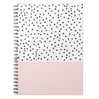 Pastel pink black watercolor polka dots pattern notebook
