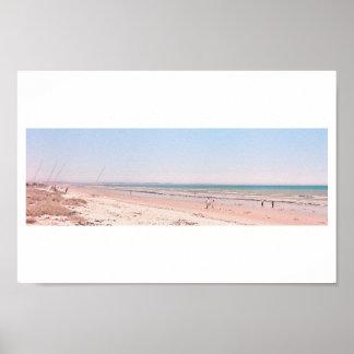 Pastel Pink Blue Beach Ocean Sea Walking Poster