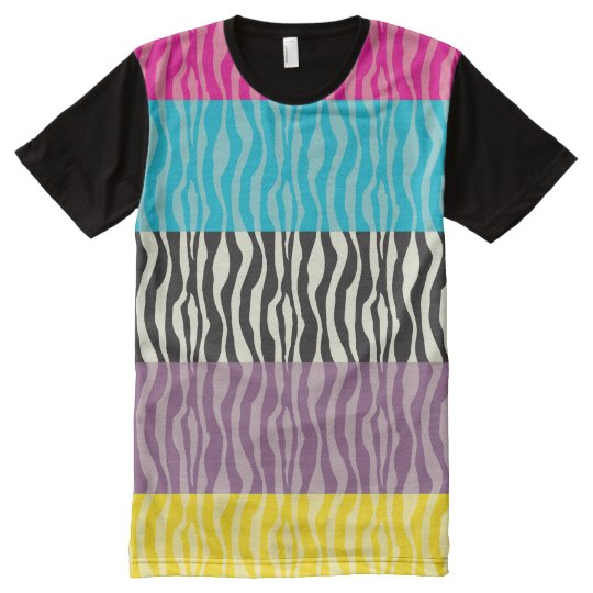 Pastel Pink Blue Purple Yellow Zebra Patterns All-Over-Print T-Shirt