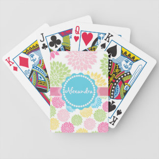 Pastel Pink, blue, Yellow Dahlia flowers name Bicycle Playing Cards