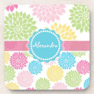 Pastel Pink, blue, Yellow Dahlia flowers name Coaster