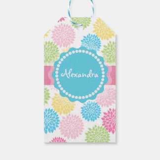 Pastel Pink, blue, Yellow Dahlia flowers name Gift Tags