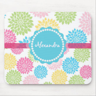 Pastel Pink, blue, Yellow Dahlia flowers name Mouse Pad