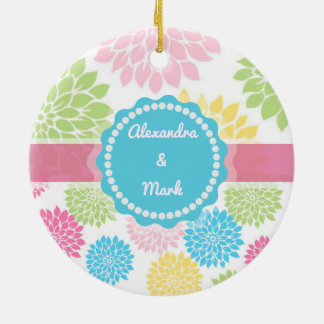 Pastel Pink, blue, Yellow Dahlia flowers name Round Ceramic Ornament