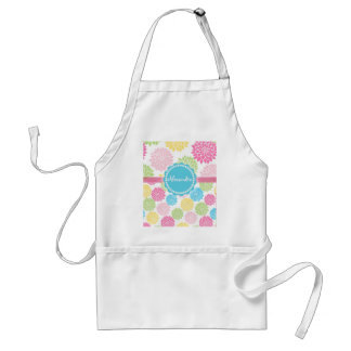 Pastel Pink, blue, Yellow Dahlia flowers name Standard Apron