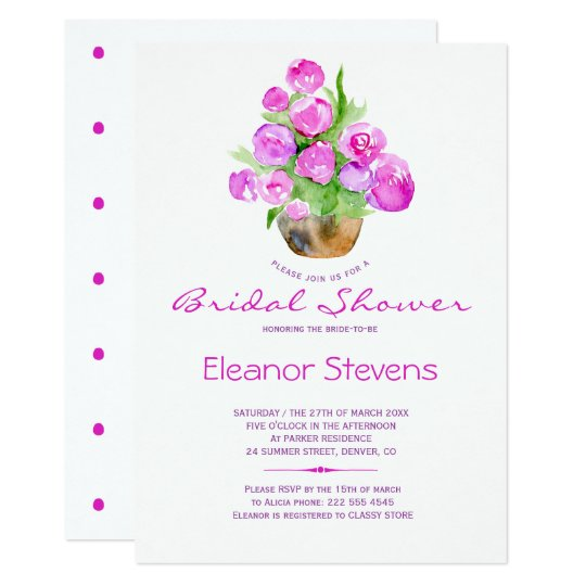 Pastel pink blush watercolor bridal shower invite