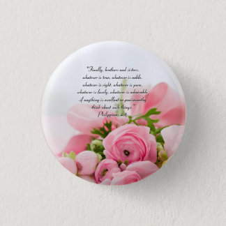 Pastel Pink Bouquet of Flowers Bible Verse 1 Inch Round Button
