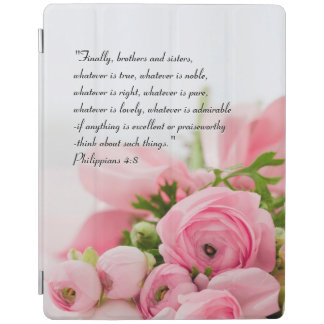 Pastel Pink Bouquet of Flowers Bible Verse iPad Cover